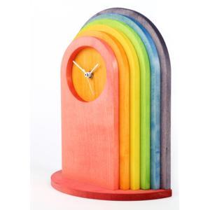 Orologio da Tavolo ARCOBALENO in legno 22x11xh30 cm legno di acero tinto arcobaleno
