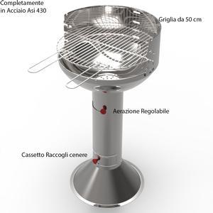 Barbecue a carbone Ferraboli ROMA in Acciaio inox Griglia 49 cm h 90