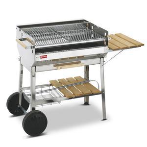 Barbecue A carbone Euro in acciaio inox AISI 430 con una griglia da 74 cm. piani di appoggio in legno e ruote.
