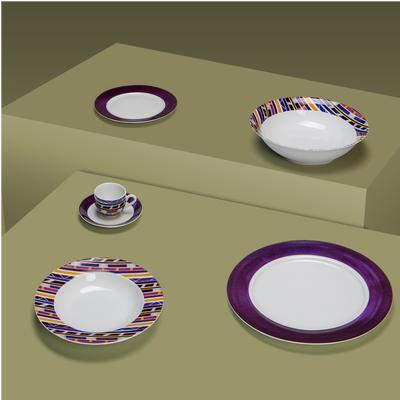 Servizio piatti in porcellana Donatella 25 pezzi colore righe in porcellana