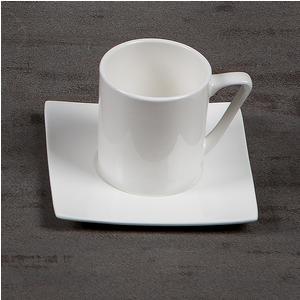 Tazzine da Caffè con piattino in porcellana Bianca 6 pezzi ELIZABETH bone china Bianco