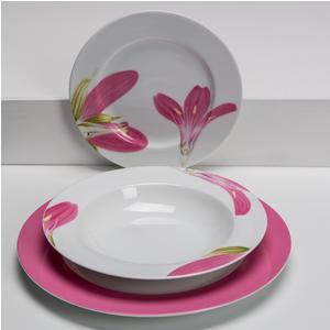 Servizio piatti in porcellana Rosada 19 pezzi colore fucsia