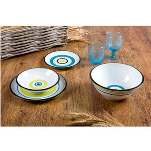 Servizio Piatti 19 pezzi SHARON Nero, Blu, Senape in ceramica