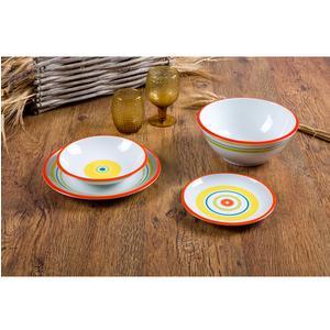 Servizio Piatti 19 pezzi SHEILA Rosso,Giallo, Blu, Senape in ceramica