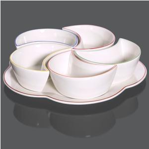 Antipastiera in porcellana 5 scomparti e vassoio Ø22 cm decoro a filo