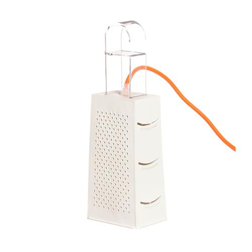 Lampada da Tavolo, Applique Cacio & Pepe colore bianco dimensioni 10 x 7 x h18 cm, raccomandato il LED da 6W, realizzata in laprene, policarbonato con cavi in diversi colori