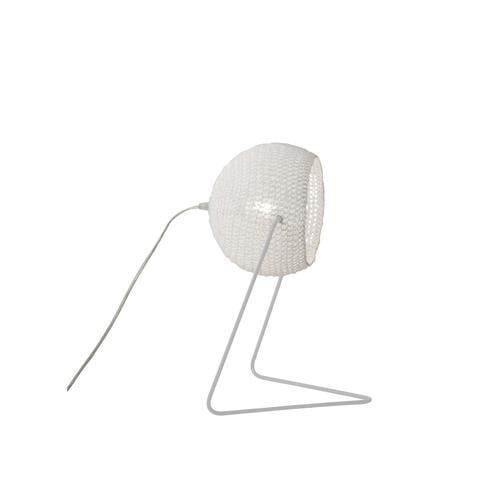 Lampada da Tavolo Trama T1 colore bianco Altezza 16 cm Diametro 21 cm, realizzata in acciaio, resina, lana 100% base bianca