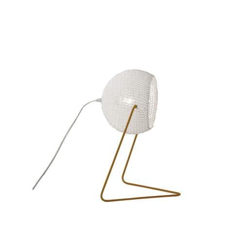 Lampada da Tavolo Trama T1 colore bianco Altezza 16 cm Diametro 21 cm, realizzata in acciaio, resina, lana 100% base bronzo