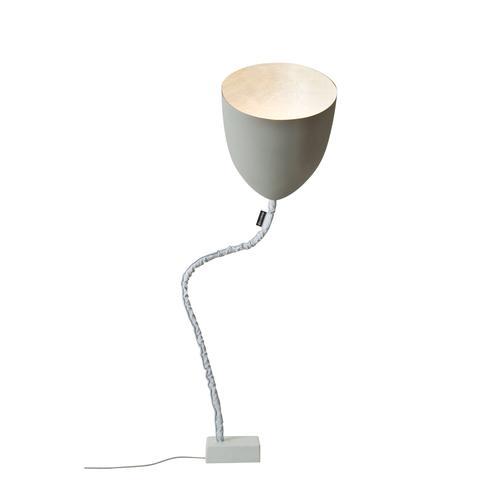 Lampada da terra Flower cemento colore grigio Altezza 31 cm Diametro 33,5 cm, realizzata in acciaio, nebulite, nylon, ghisa, vernice effeto cemento