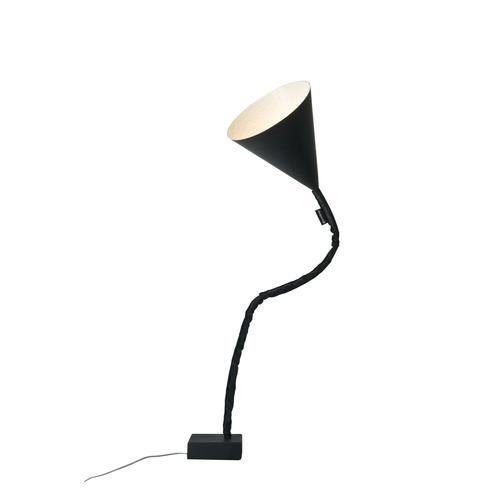 Lampada da terra Flower lavagna colore nero Altezza 31 cm Diametro 29 cm, realizzata in acciaio, nebulite, nylon, ghisa, resina effetto lavagna