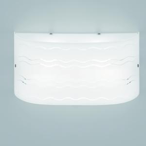 Applique da Muro in Vetro 2 lampadine BIG SOL 50x12xh25 cm incisa in vetro curvato bianco