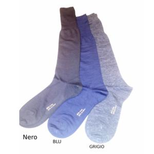 Calzini da Uomo lungo lana invernale a Tinta unita NERO due paia