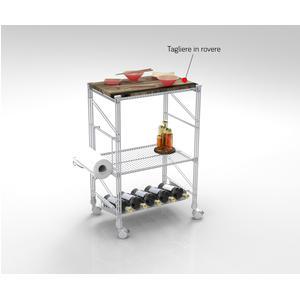 Carrello da Cucina portavivande con Piano in Legno struttura in filo di ferro verniciata con polveri epossidiche colore grigio