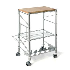 carrello da cucina con tagliere in legno ebano 32x50xh78 cm struttura in  acciaio inox colore grigio