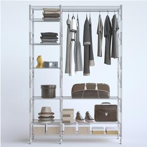 Appendiabiti componibile in filo LIVING 2- 32x100xh180 - 22x50xh180 cm in acciaio verniciato grigio