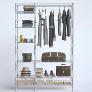 Appendiabiti componibile in filo LIVING 2- 42x100xh180 - 42x50xh180 cm in acciaio verniciato grigio