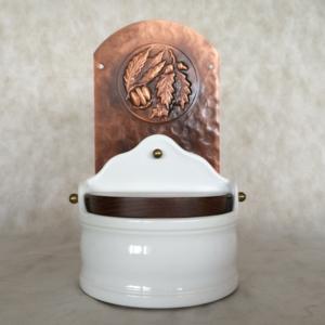 Portasale in rame e Ceramica 18xh31 cm - inserti in rame castagne