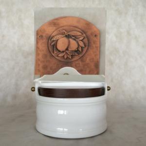 Portasale in rame e Ceramica 31xh24 cm - inserti in rame Limoni