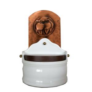 Portasale in rame e Ceramica 18xh31 cm - inserti in rame mele