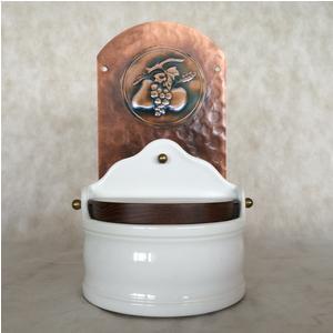 Portasale in rame e Ceramica 18xh31 cm - inserti in rame Misto frutta
