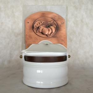 Portasale in rame e Ceramica 18xh31 cm - inserti in rame Prugne