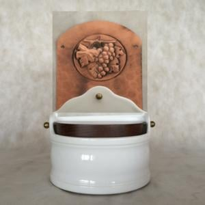 Portasale in rame e Ceramica 18xh31 cm - inserti in rame uva