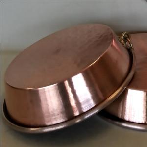 Teglia in Rame Stagnato Alta Per Torta diametro 32xh15 cm con anello