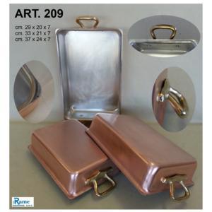Lasagnera Rostiera in rame stagnato 29x20xh7 cm maniglie in ottone