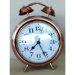 Orologio da tavolo in rame a forma di sveglia h 16 cm quadrante diametro 10,5 cm