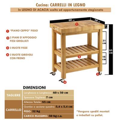 Carrello da cucina in legno massello 60x50xh85 cm con tagliere in legno