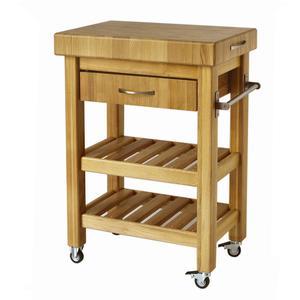 Carrello da cucina in legno massello con cassetto 50x40xh85 cm con tagliere in legno