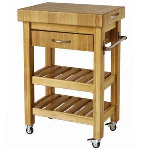 Carrello da cucina in legno massello con cassetto 50x50xh85 cm con tagliere in legno
