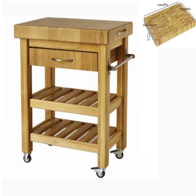 Carrello da cucina in legno massello con cassetto 60x40xh85 cm con tagliere in legno