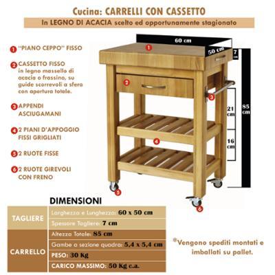 Carrello da cucina in legno massello con cassetto 60x50xh85 cm con tagliere in legno