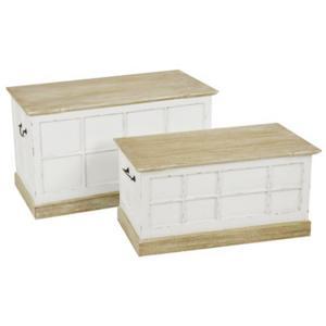Baule Cassapanca portabiancheria in legno 90x45xh 51 cm - Luna Set 2 pezzi Bianco
