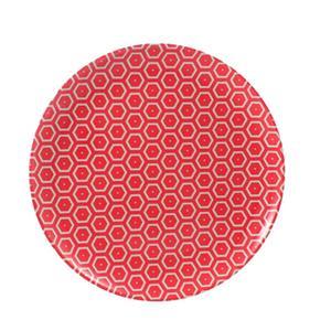 Piatto Frutta rotondo in melamina MIELE Ø 21,0 cm - Bpa Free decoro in tessuto (bees) Rosso