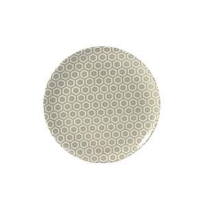 Piatto Frutta rotondo in melamina MIELE Ø 21,0 cm - Bpa Free decoro in tessuto (bees) grigio