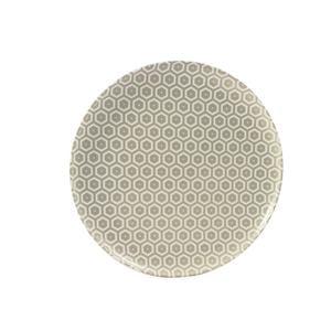 Piatto Piano rotondo in melamina MIELE Ø 24,0 cm - Bpa Free decoro in tessuto (bees) Grigio