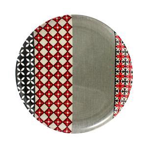 Piatto Piano rotondo in melamina PROVENZA Ø 24,0 cm - Bpa Free decoro in tessuto (Seelvy) Rosso