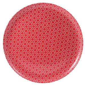 Piatto Pizza rotondo in melamina MIELE Ø 31,5xh2.1 cm - Bpa Free decoro in tessuto (bees) Rosso