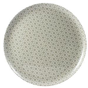 Piatto Pizza rotondo in melamina MIELE Ø 31,5xh2.1 cm - Bpa Free decoro in tessuto (bees) Grigio