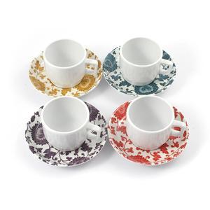 Tazze da Caffè con piatto in Melamina set 4 pezzi Damasco Ø 6xh 4,8 cm - decori vari