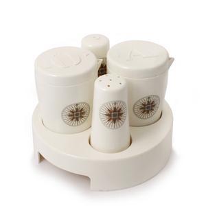 Menage Rosa dei Venti in melamina, Set 4 pezzi: olio, aceto, sale e pepe Colore: Bianco Avorio
