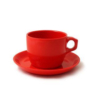 Tazza da tè con piattino in melamina impilabile, diam. 8,8 cm / H 6,80 cm, capacità 300 ml Colore: Rosso
