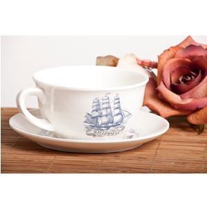 Tazza da colazione Veliero con piattino, in melamina Ø 12,4 xh 6,80 cm -480 ml Colore: Bianco Avorio