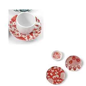 Tazza da Caffè con piatto in Melamina Damasco Ø 6xh 4,8 cm - decori colore rosso