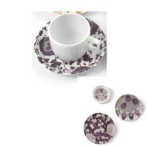 Tazza da Caffè con piatto in Melamina Damasco Ø 6xh 4,8 cm - decori colore melanzana