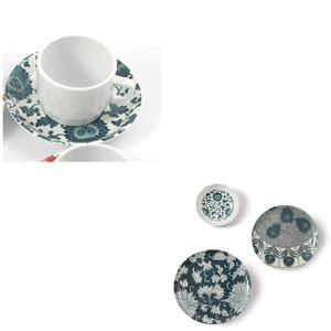 Tazza da Caffè con piatto in Melamina Damasco Ø 6xh 4,8 cm - decori colore petrolio