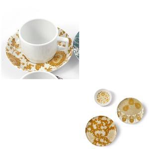 Tazza da Caffè con piatto in Melamina Damasco Ø 6xh 4,8 cm - decori colore ocra