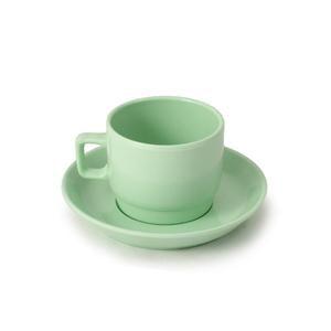 Tazzina caffè con piattino, in melamina impilabile,Tazza: diam. 6 cm / H 4,80 cm, Piattino: diam. 11 cm, capacità 100 ml Colore: Verde
